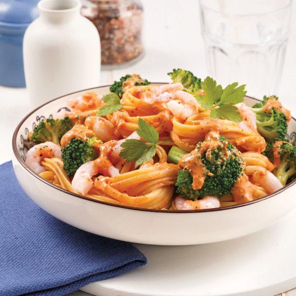 Linguines aux crevettes, sauce rosée
