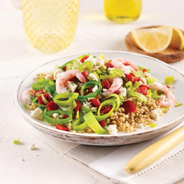 Salade tiède de quinoa et crevettes nordiques