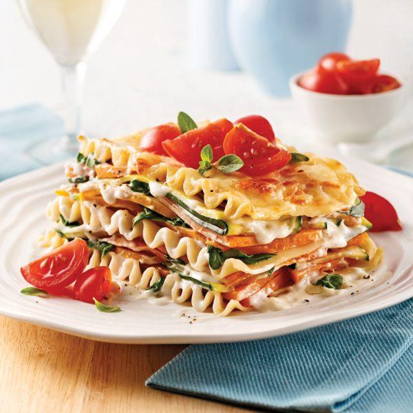 Lasagne aux légumes sauce légère au chou-fleur