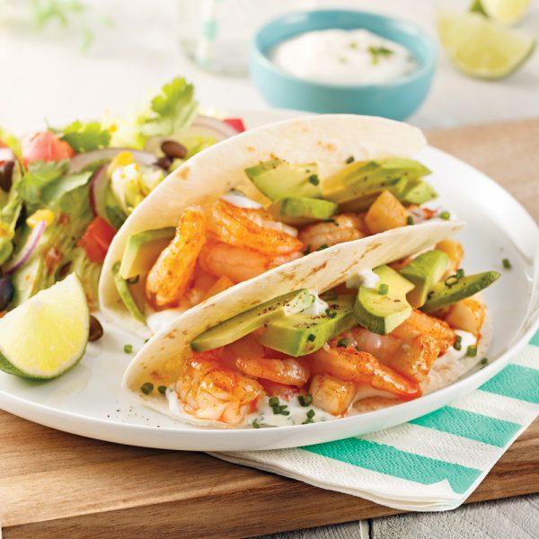 Tacos aux fruits de mer et avocat