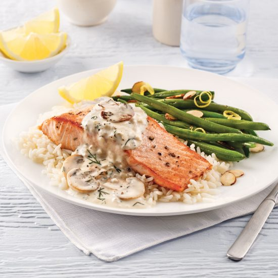 Salmon Fillets, White Wine Mushroom Sauce