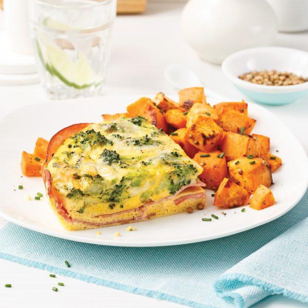 Omelette au jambon, fromage et brocoli à la mijoteuse