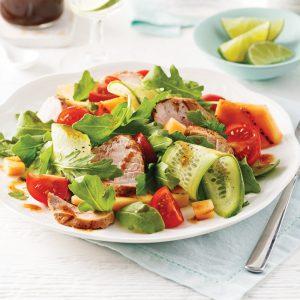 Salade de porc et cantaloup grillé