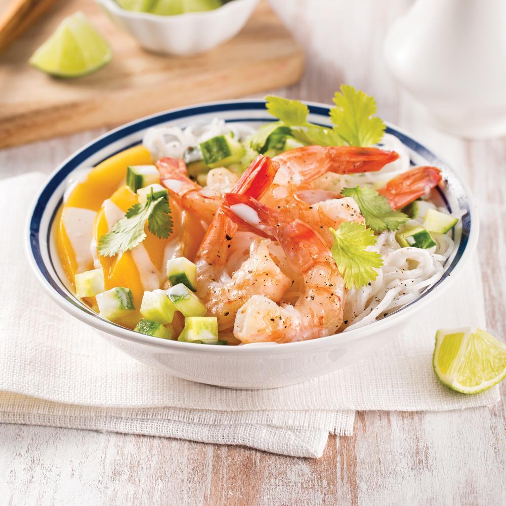 Salade tiède de crevettes et vermicelles