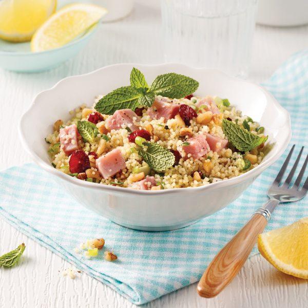 Salade de couscous au jambon et canneberges