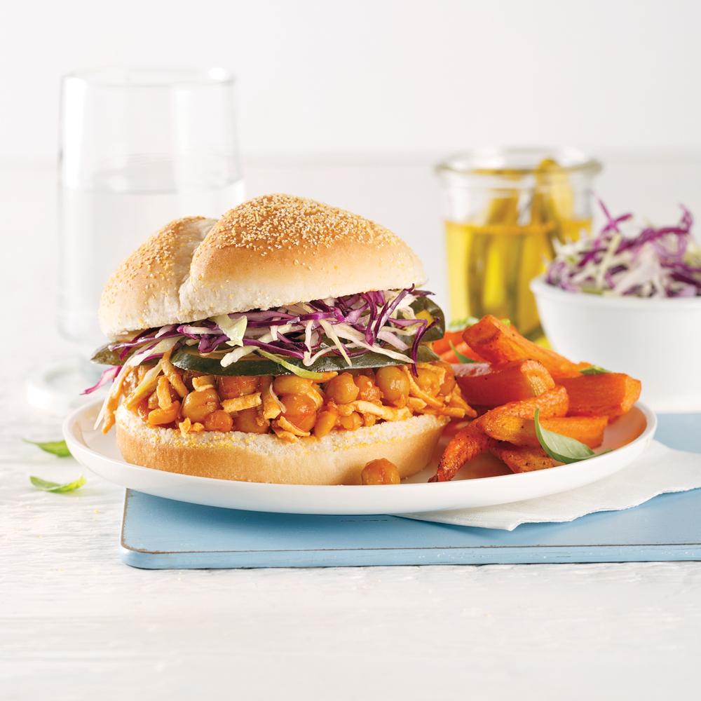 Sandwich barbecue aux pois chiches
