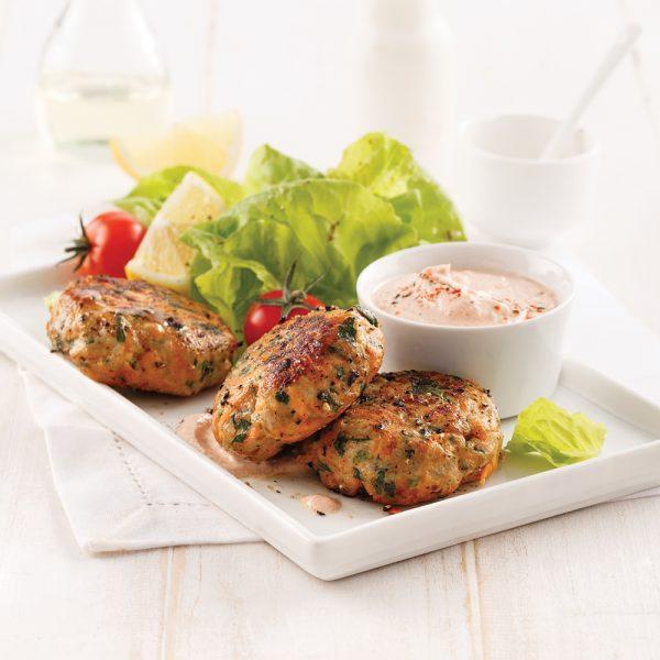 Galettes de poulet et patates douces
