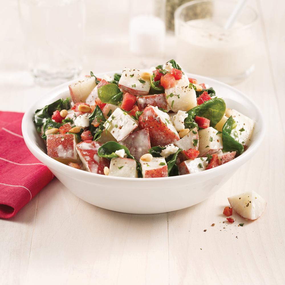 Salade de pommes de terre, feta et pancetta