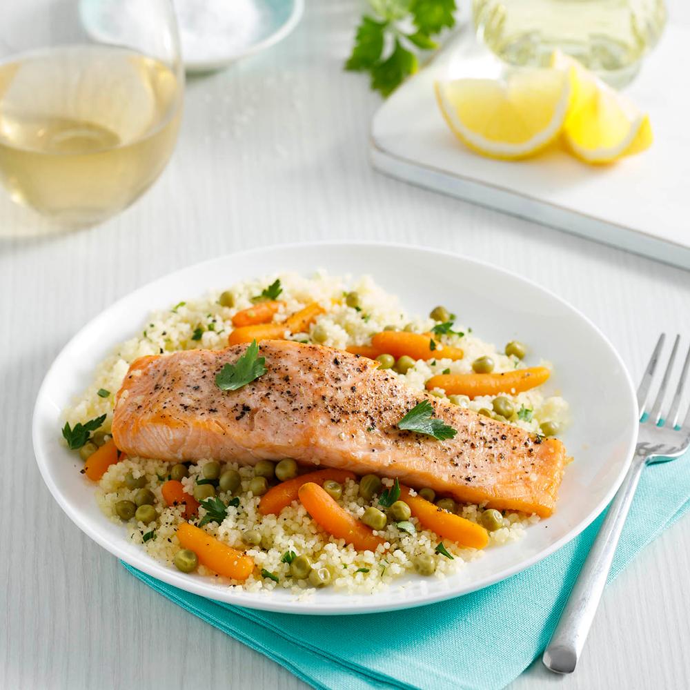 Papillotes de saumon, couscous et légumes