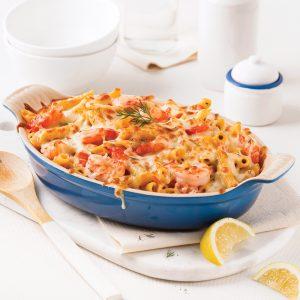 Pennes sauce Alfredo aux tomates et crevettes