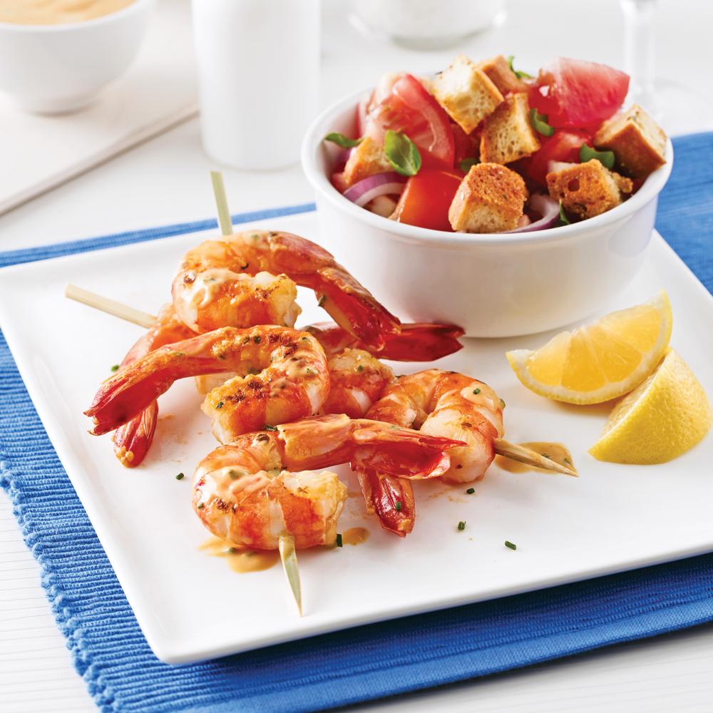 Brochettes de crevettes, sauce barbecue