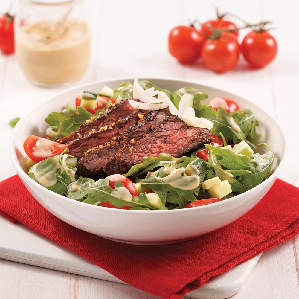 Salade tiède au boeuf mariné