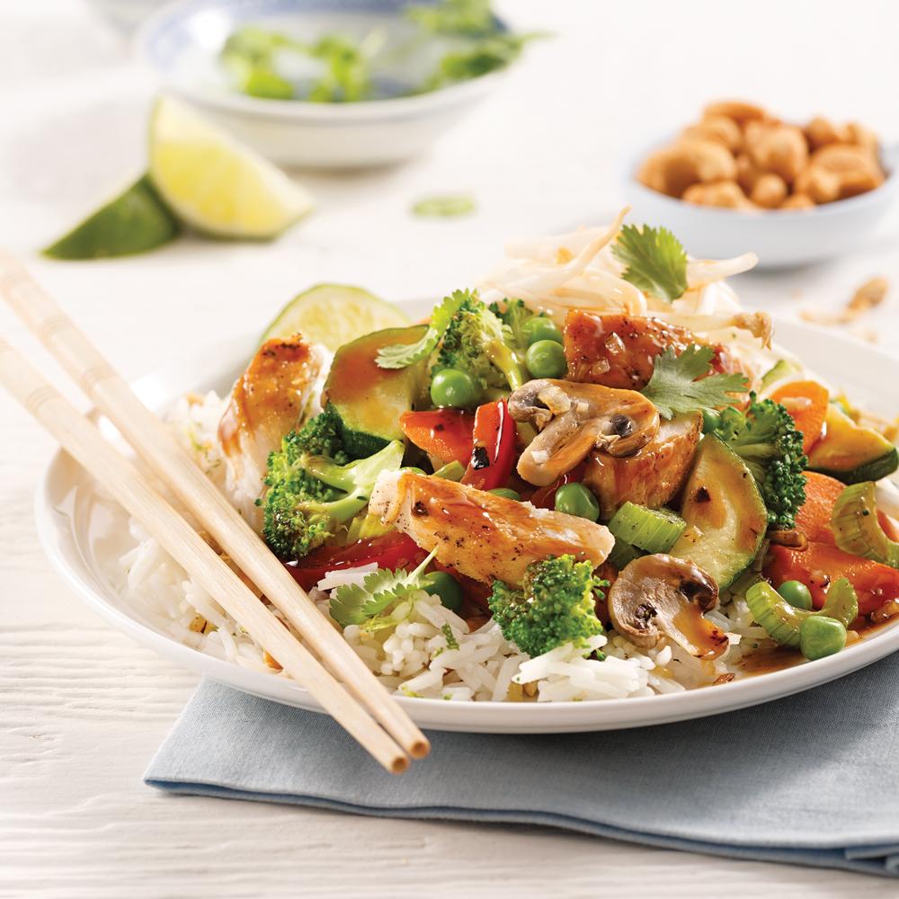 Sauté de poulet et légumes teriyaki