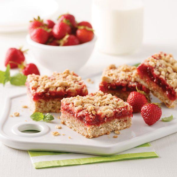 Carrés aux fraises et bananes