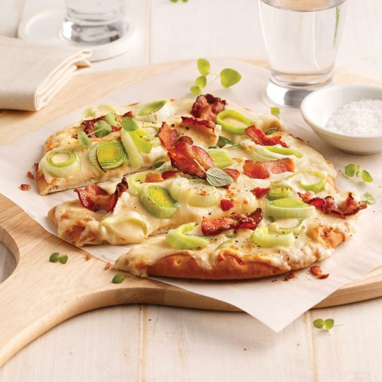 Pizza aux poireaux et bacon