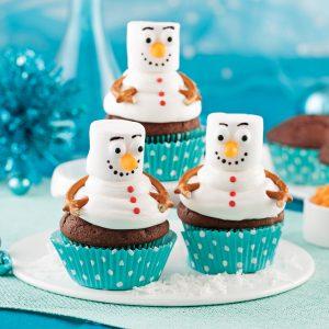 Cupcakes bonshommes de neige au chocolat