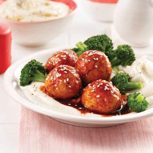 Boulettes de poulet miel et sriracha