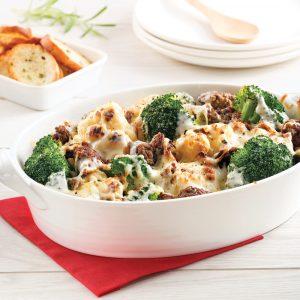 Casserole gratinée au boeuf, brocoli et chou-fleur