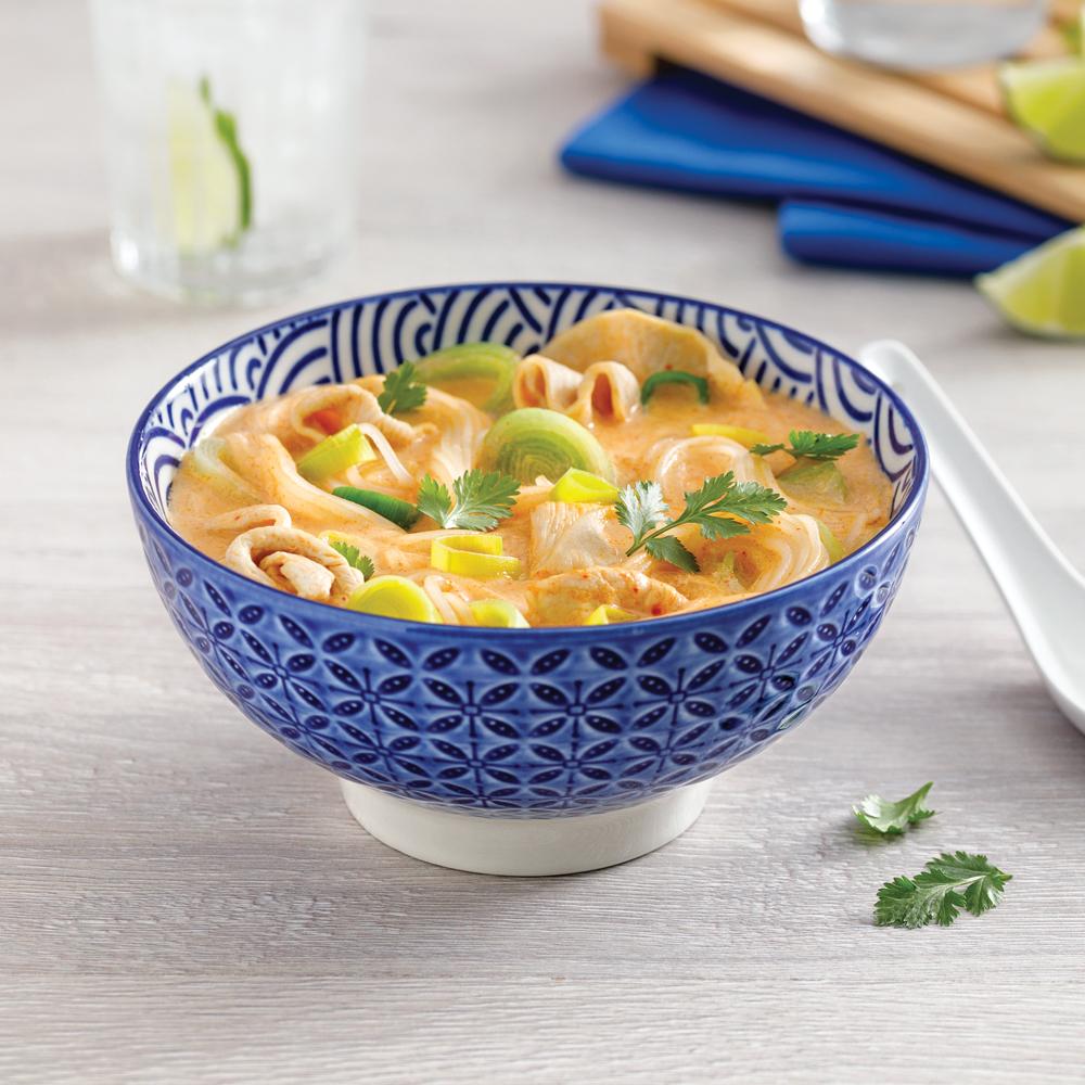 Soupe thaïe au poulet et poireaux