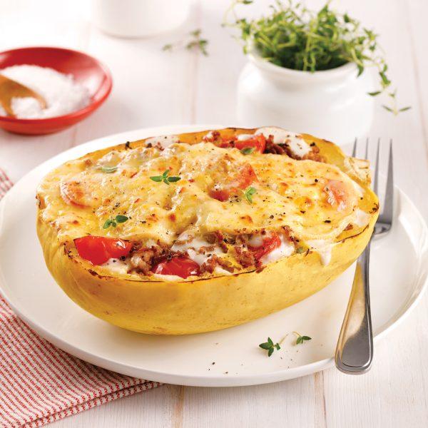 Courge spaghetti gratinée au fromage à raclette