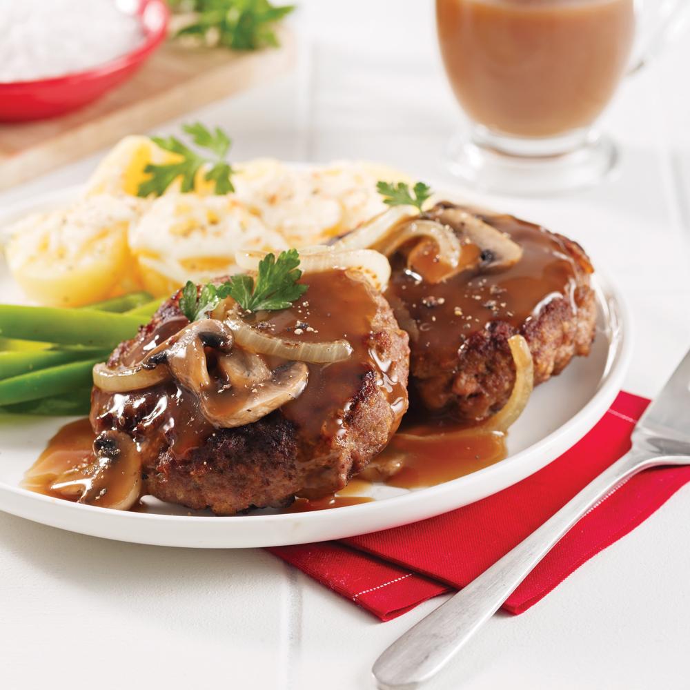 Hamburger steak aux oignons