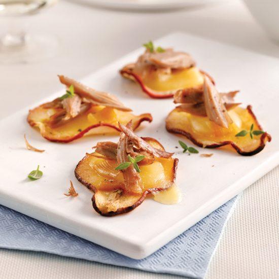 Chips de poires au fromage et canard