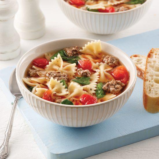 Soupe au boeuf et épinards à l'italienne