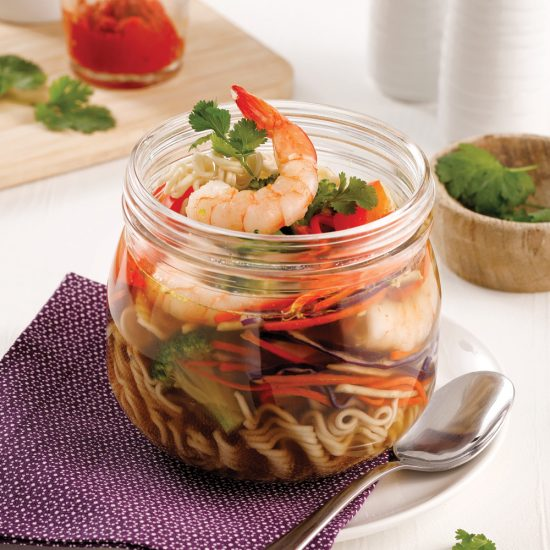 Soupe ramen aux crevettes au micro-ondes