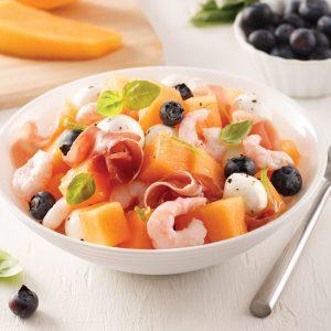Salade de crevettes, cantaloup et prosciutto