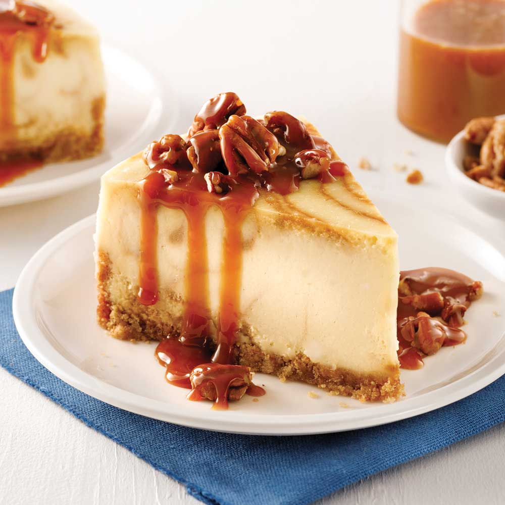 Gâteau au fromage marbré pacanes et caramel