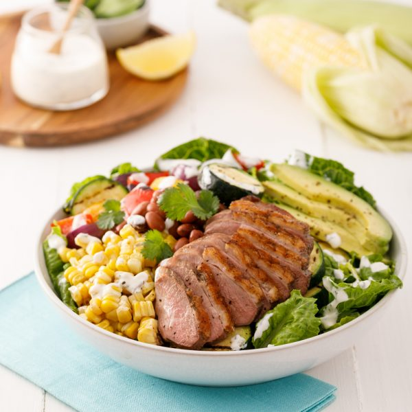 Salade de canard grillé, vinaigrette ranch
