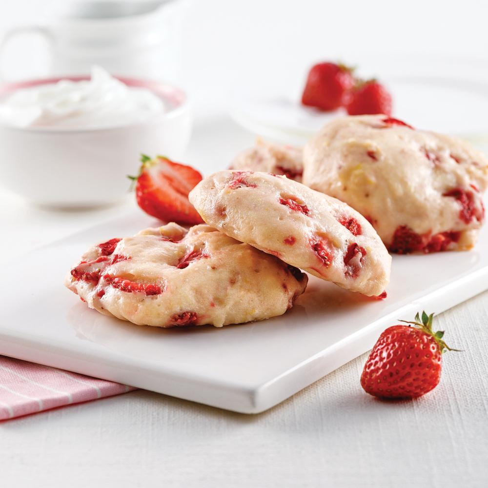 Biscuits au yogourt, citron et fraises