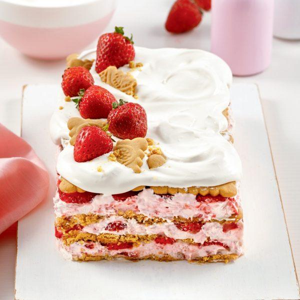 Gâteau aux fraises et guimauves