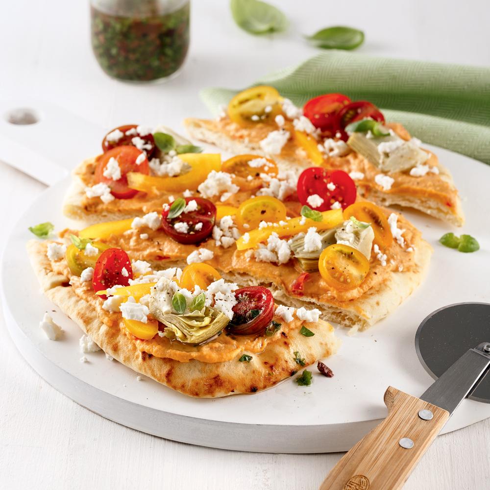Pizza sans cuisson à la méditerranéenne