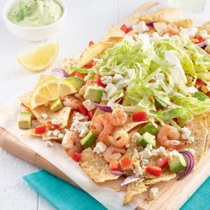 Nacho aux crevettes et feta