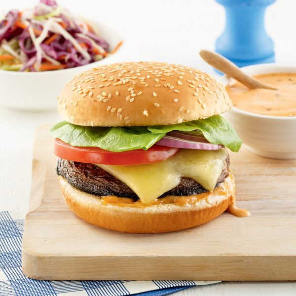 Burger de portobello et cheddar