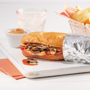 Sous-marin steak Philly, sauce bourguignonne