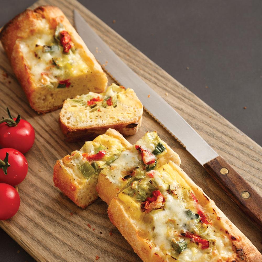 Baguette farcie au fromage St-Paulin Fritz façon quiche