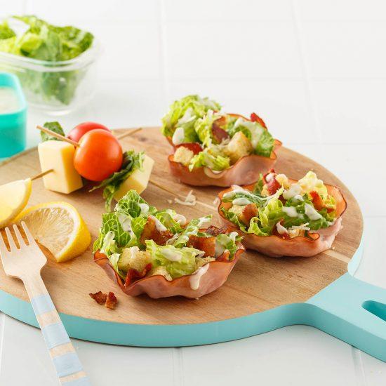 Caesar Salad Ham Scoops