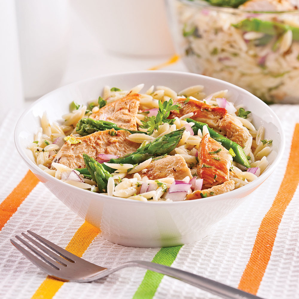 Orzo, Asparagus and Grilled Chicken Salad