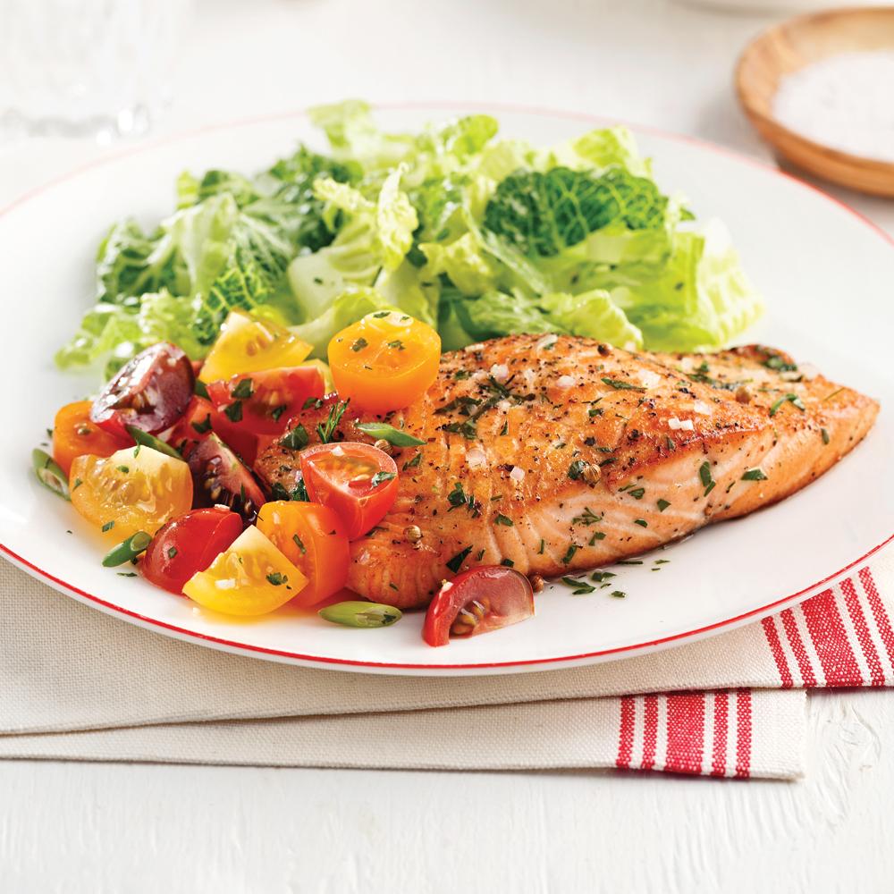 Filet de saumon à l'huile parfumée et grains de coriandre