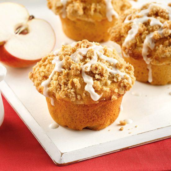 Muffins aux pommes, glaçage à la vanille