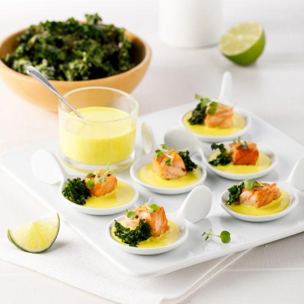 Bouchées de saumon crémeuses au curcuma