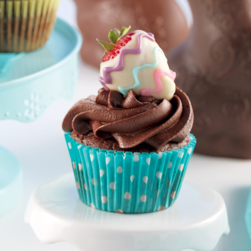 Cupcakes au chocolat et fraises