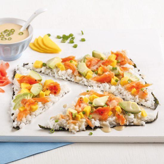 Pizza sushi au saumon fumé