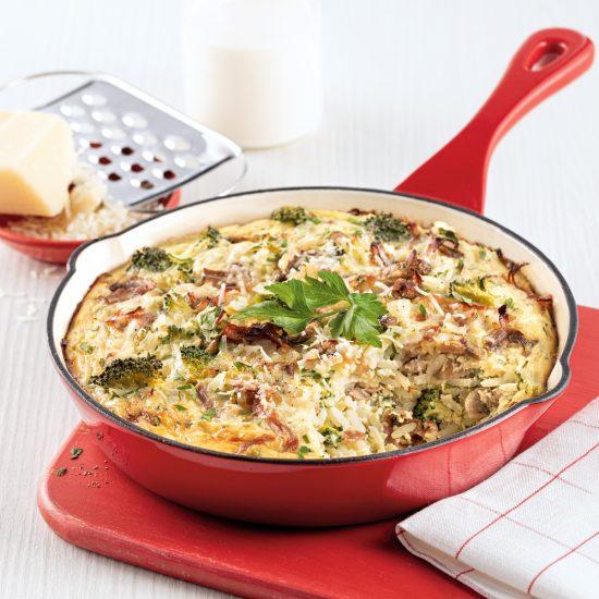 One pot de riz aux champignons, brocoli et prosciutto