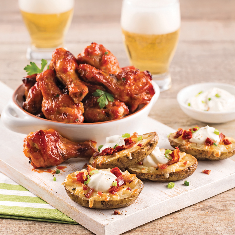 Game Night Chicken Wings and Potato Skins