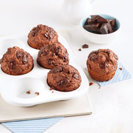 Muffins santé aux bananes double chocolat