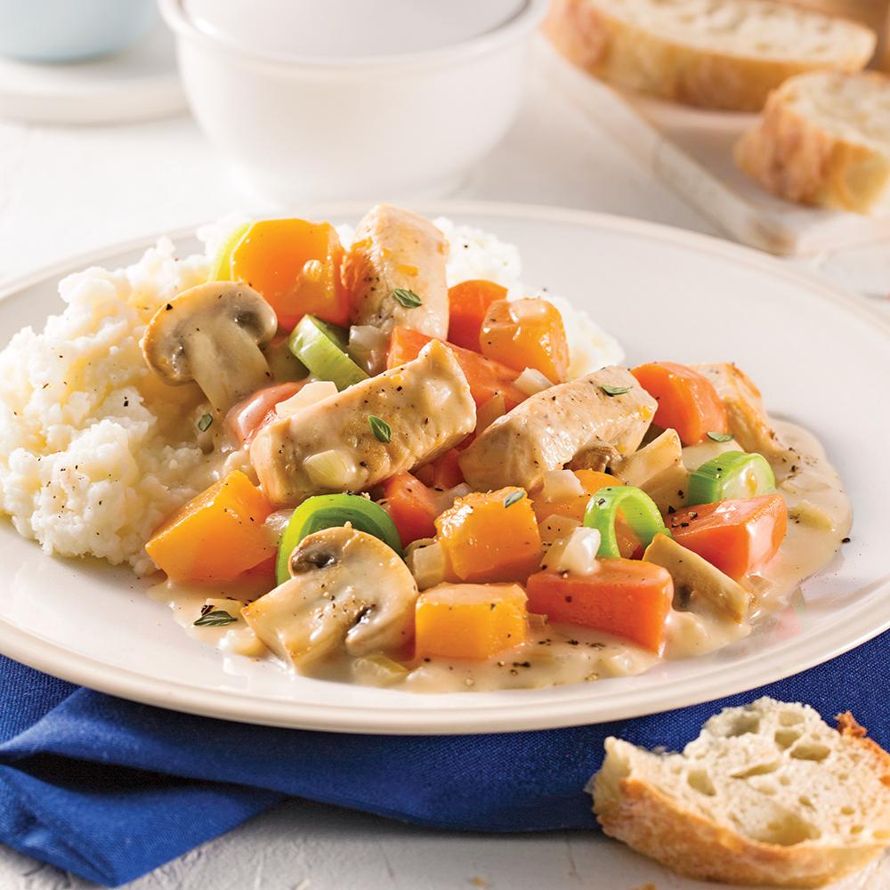 Ragoût de poulet, sauce crémeuse à la mijoteuse