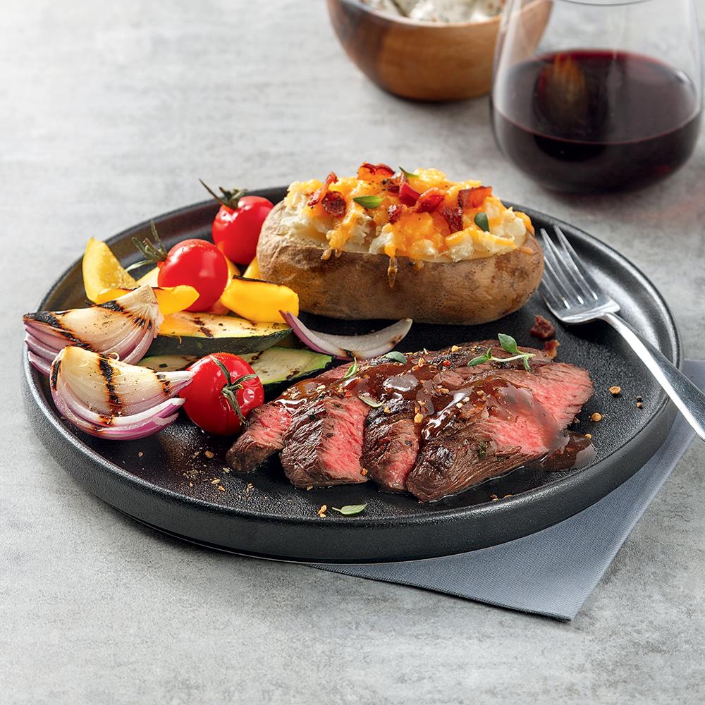 Bavette de boeuf au vin rouge et épices à steak